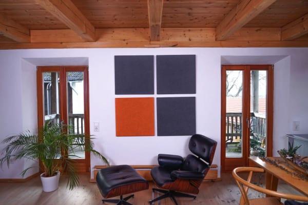 Apricot Orange Dunkelgrau Heradesign Superfine Akustikplatte SilentFiber Wand