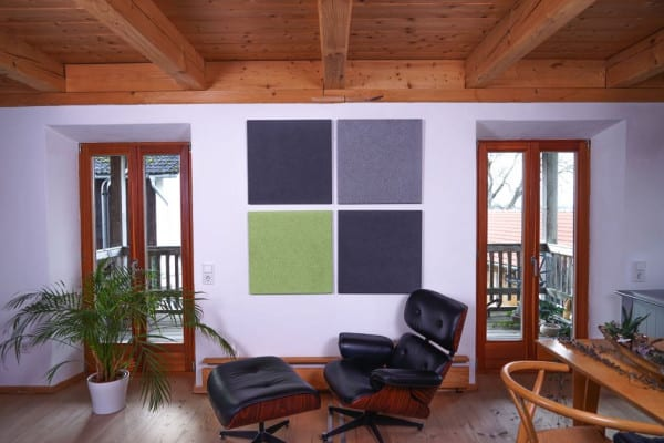 Grün Hellgrau Dunkelgrau Heradesign Superfine Akustikplatte SilentFiber Wand