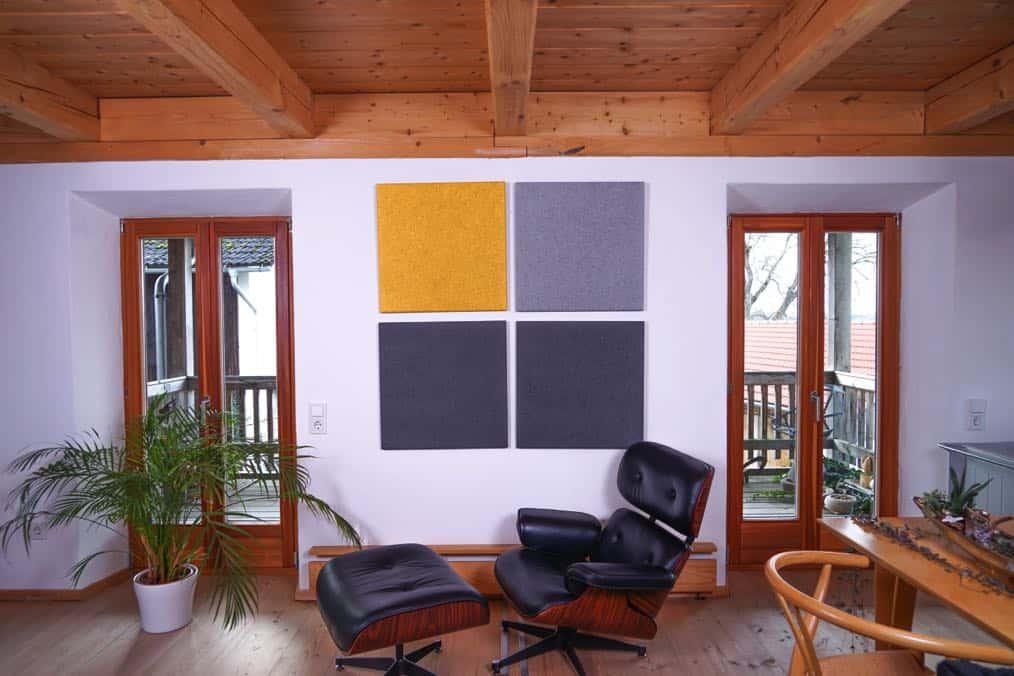 Gold Hellgrau Dunkelgrau Heradesign Superfine Akustikplatte SilentFiber Wand