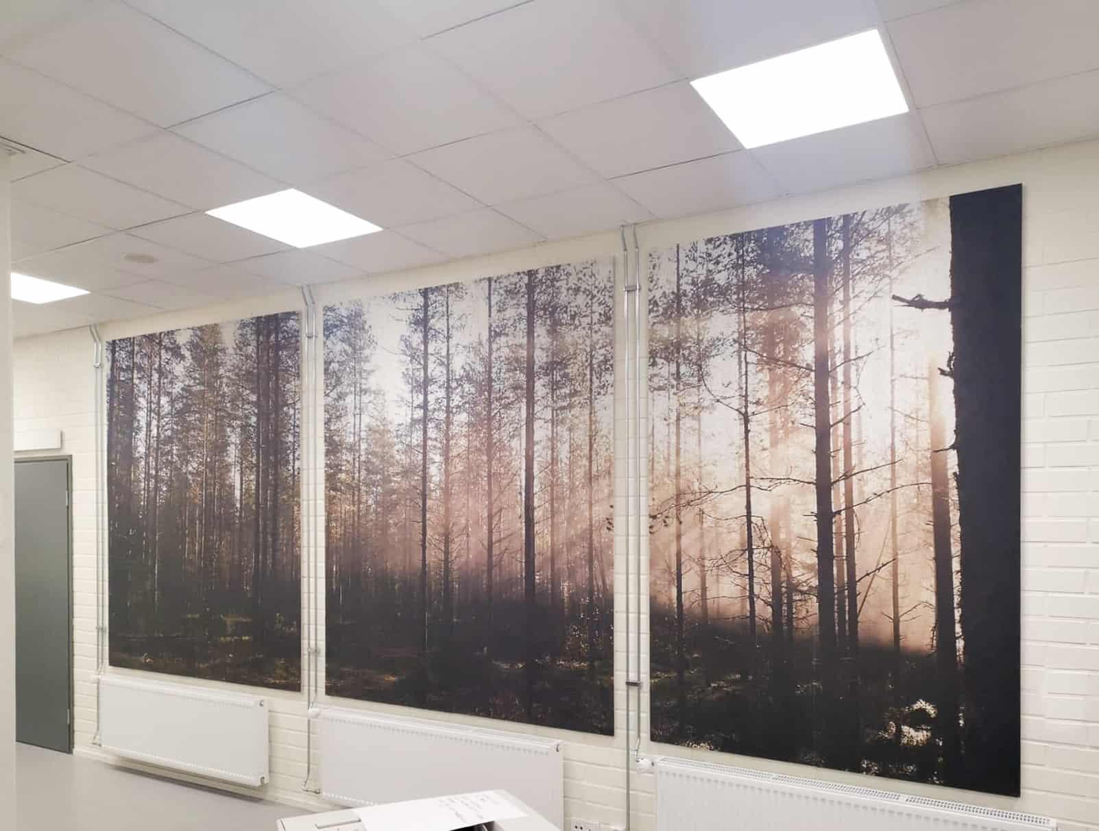 Wald im Büro – bedruckte Akustikplatten